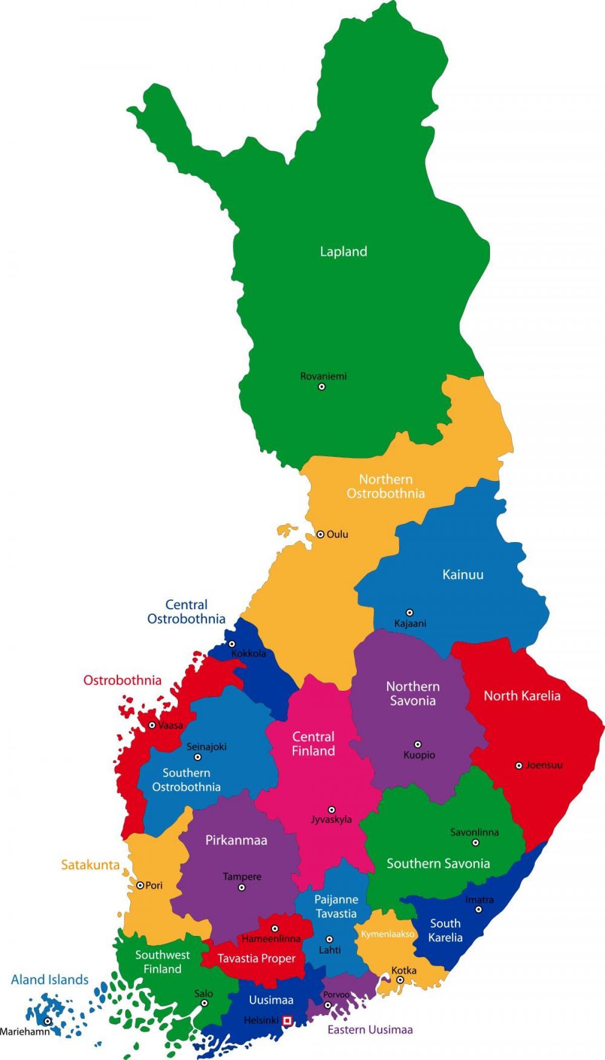 Finnland Karte Regionen.Finnland Regionen Karte Finnland Provinzen Landkarte