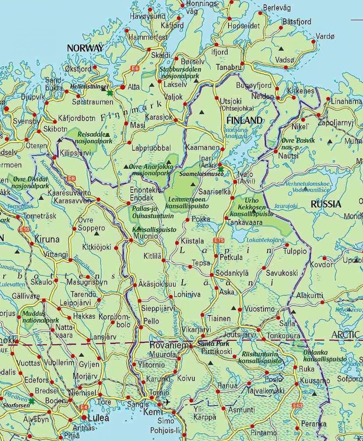 Lappland Karte.Lappland Finnland Map Karte Von Finnland Und Lappland Nordeuropa