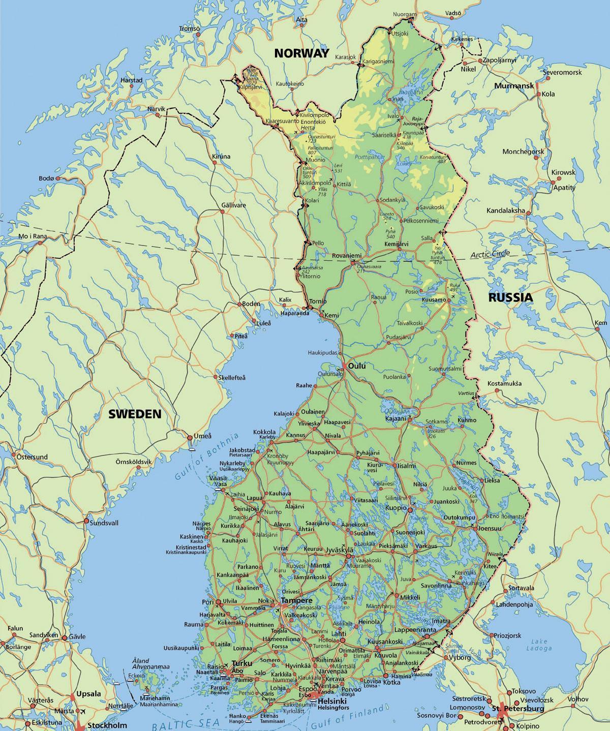 Arctic Circle Finland Map Karte Von Polarkreis Finnland